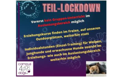 Teil-Lockdown – vorerst KEIN Gruppenunterricht im Auslastungsbereich möglich