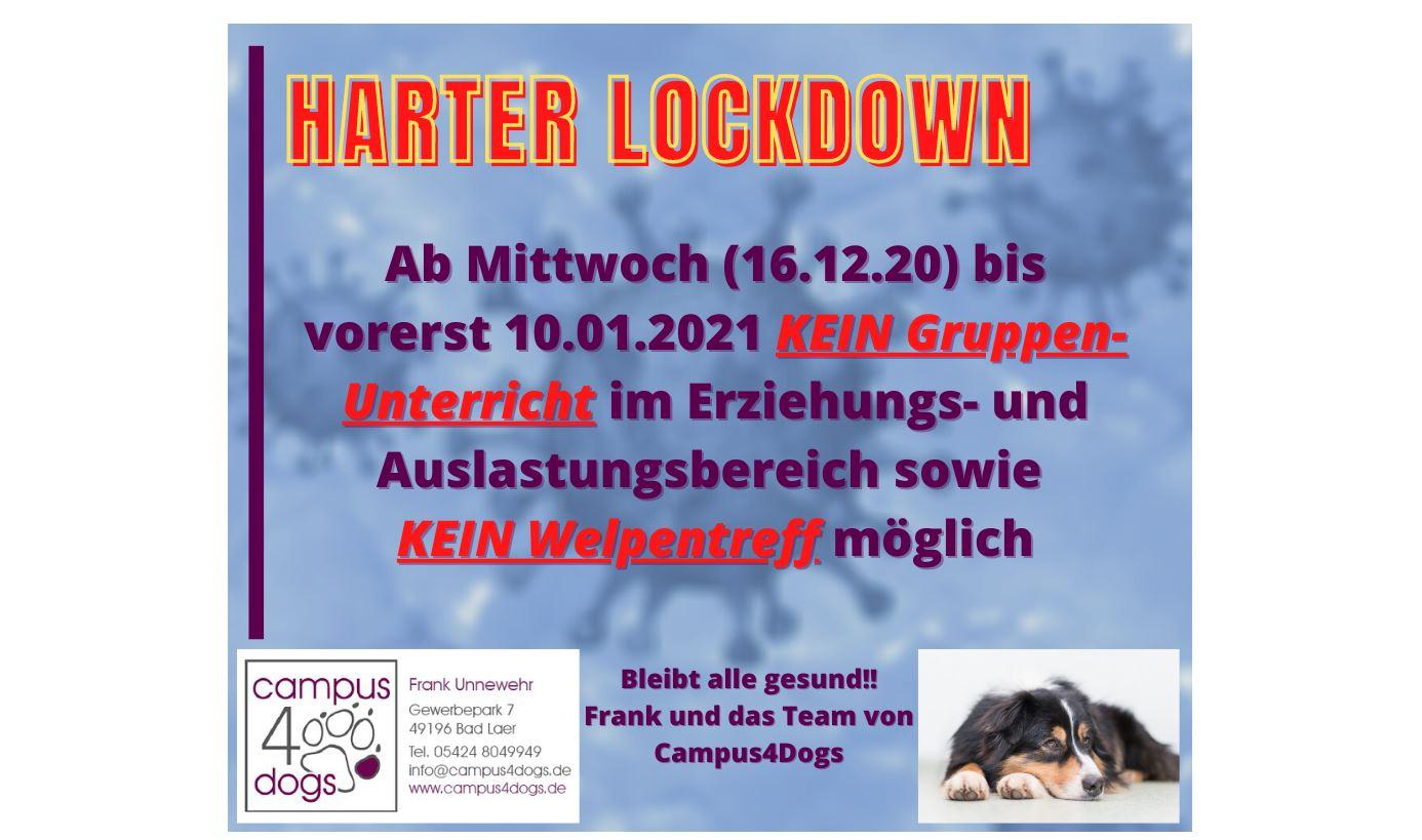 Harter Lockdown – vorerst KEIN Gruppenunterricht und KEIN Welpentreff